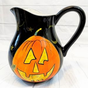 Halloween Pitcher with Art by Susan Winget Vintage